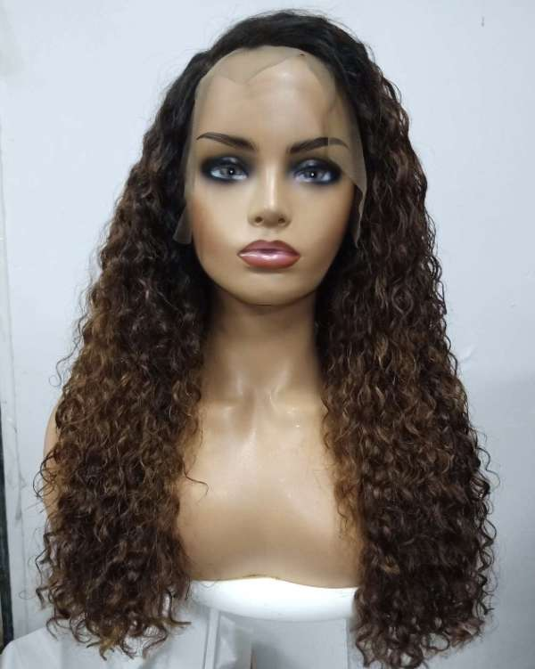 curly human hair wig model