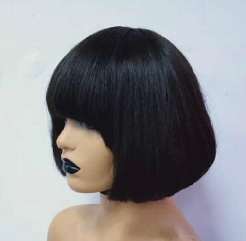 straight human hair wig model